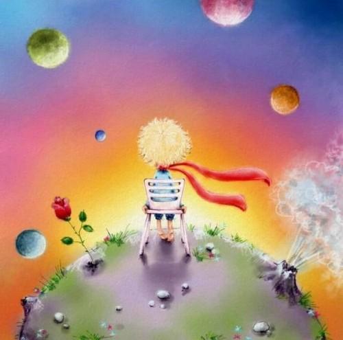 Маленький принц на своей планете, иллюстрация к повести