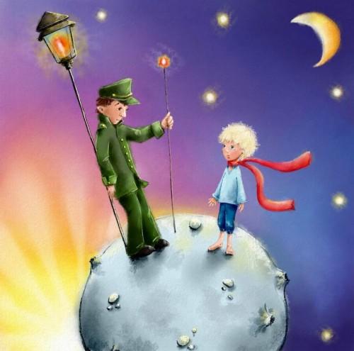 Маленький принц во время путешествия, иллюстрация к повести