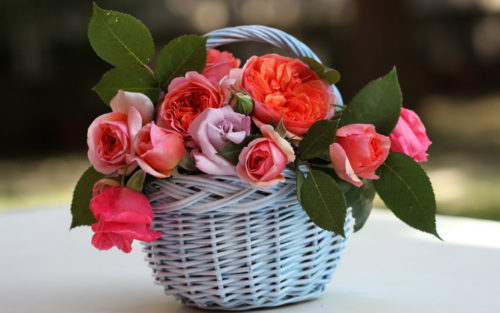 Цветы в плетеной корзине