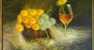 Рисунок с одуванчиками и бокалом вина