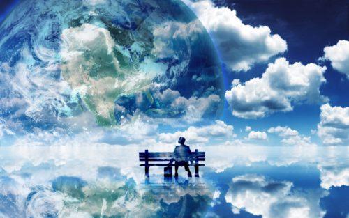 человек в облаках