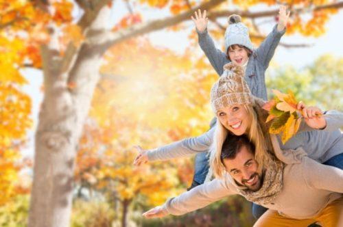 семейная прогулка осенью