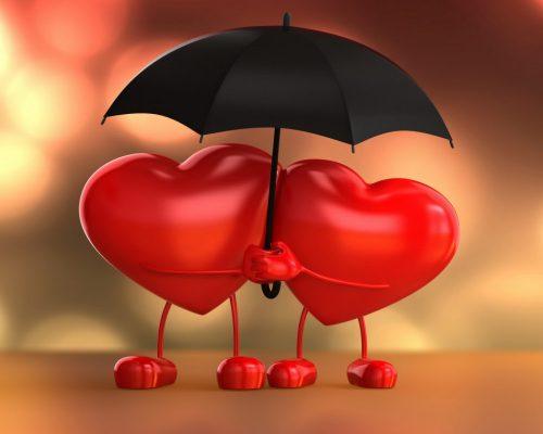 Два сердечка под зонтом