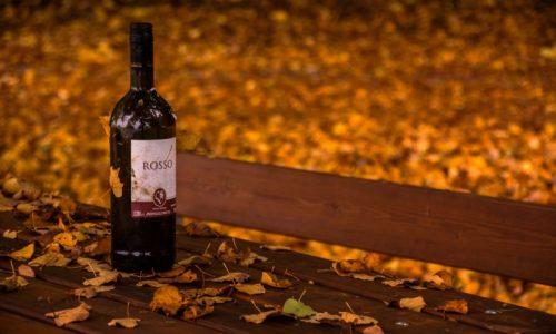 Вино на скамейке осенью
